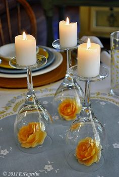 DIY Wedding Centerpieces - Upside Down Wine Glass Wedding Centerpiece - Do It Yo. [ DIY Wedding Centerpieces - Upside Down Wine Glass Wedding Centerpiece - Do It Yourself Ideas for Brides and Best Cente. Wine Glass Centerpieces, Simple Centerpieces, Centerpiece Flowers, Glass Votive, Glass Candlesticks, Flower Arrangements, Cheap Centerpiece Ideas, Diy Centrepieces, Rehearsal Dinner Centerpieces
