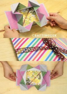 Tarjeta Fold-out: scrap - origami #tutorial #hazlafácil Craftingeek.me