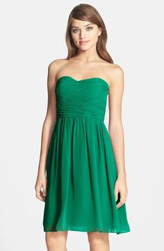 Free shipping and returns on Donna Morgan 'Sarah' Strapless Ruched Chiffon Dress at Nordstrom.com. Featherweight chiffon shapes a graceful strapless dress composed with a perfectly shirred sweetheart bodice and gently undulating above-the-knee skirt.