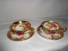 Royal Chelsea Golden Rose Cups & Saucers Pink Red Roses Pair X2