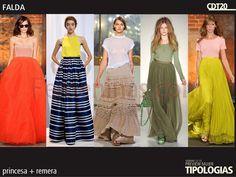 Utilizar faldas maxi largas y cintura alta con remera básica es lo destacado en este verano 2013.