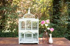 Mint Birdcage - This vintage piece, in a sweet shade of pastel green, is great for envelopes or as a decor piece!  *Paisley & Jade...Vintage & Eclectic Furniture Rentals for Events, Weddings & Photo Shoots*