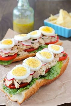 A tuna sandwich that will amaze you. It's full of flavor and freshness, bright acidic notes, and lots of phenomenal textures flavors. Canned Tuna Recipes, Cooking Recipes, Healthy Recipes, Seafood Recipes, Sushi Recipes, Tuna Sandwich Recipes, Tuna Fish Sandwich, Nicoise, Good Food