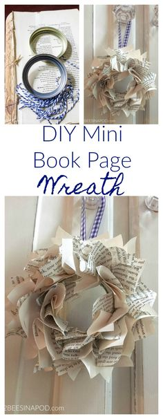 Ideas Home Library Diy Book Pages Geek Crafts, Diy Craft Projects, Craft Ideas, Adult Crafts, Book Projects, 31 Ideas, Upcycled Crafts, Christmas Books, Christmas Crafts