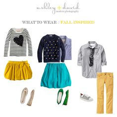 What to Wear Wednesdays: Family Outfits for Fall  LOVE the teal, yellow, navy and splash of green!