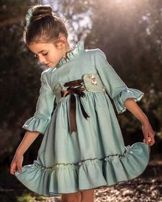 Image may contain: 1 person Little Girl Fashion, Toddler Fashion, Kids Fashion, Little Girl Dresses, Girls Dresses, Baby Dress, Cute Dresses, Toddler Girl, Doll Clothes