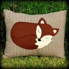 bc2a6239249d5 A snoozy fox cushion. Fox pillow. 45cm x 33cm. (17.75 inches x 13 inches )  Complete with inner cushion pad.
