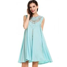 Women Casual Sleeveless Lace Patchwork O Neck Hollow Out Loose Mini Dress