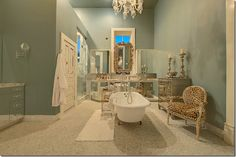 Love the blue and leopard, bathroom in Austin as seen on Cote de Texas. Leopard Bathroom, Pastel Bathroom, Ideal Bathrooms, House Yard, Industrial House, Old House Dreams, Interior Decorating, Decorating Ideas, House Design