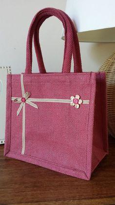 Handmade Pink Jute Lunch / Gift bag, padded handles. Ribbon Bow & button flower.