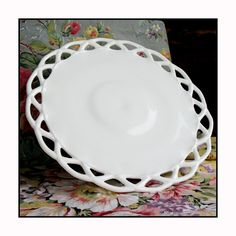 Vintage 14 Milk Glass Cake Stand/ Milk Glass by ShiftingYears