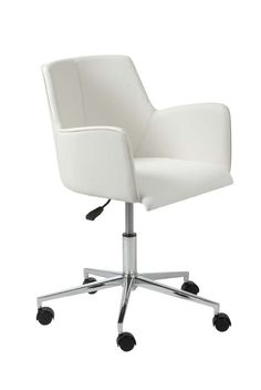 Sunny Office Chair (White Leatherette/Chrome) - Office Chairs by BOHO Furniture Gallery