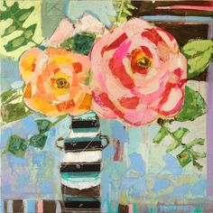 Stripes and Roses by Christy Kinard #art #mixedmedia #flowers