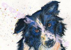 Border Collie Dog Puppy Print Canvas of Original by JaPeyArtnStuff