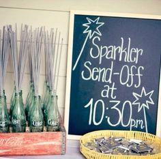 Sparkler Sendoffs sparklers DISPLAYED IN  EMPTYCOKE/PEPSI BOTTLES!