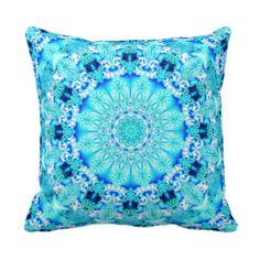 Aqua Lace, Delicate, Abstract Mandala Throw Pillows $32.95