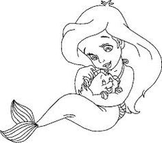 Cute Little Ariel With Guppy Flounder Disney Princess Coloring Pages