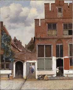 """""""View of Houses in Delft"""" or """"The Little Stree -- 1658 -- Johannes Vermeer -- Dutch -- Rijksmuseum, Amsterdam, Netherlands. Johannes Vermeer, Vermeer Paintings, Dutch Golden Age, Dutch Painters, Dutch Artists, Oil Painting Reproductions, Caravaggio, Rembrandt, Constructivism"""