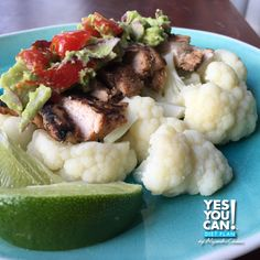 Chicken with Lime and Avocado and Steamed Cauliflower
