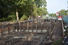 Compassses Bridge construction. Wey and Arun Canal, Alfold, Surrey.Reinforcing installed for the bridge decking. View looking north towards the Dunsfold airfield entrance. (Oct 11, 2015.)