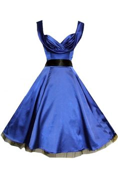 Bridesmaids  Blue Satin Vintage Dress with Drape Neckline.   In red with black sash or vice versa.