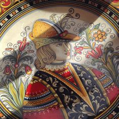 #sberna #art #pottery #ceramics #deruta #madeinitaly #love #handmade #handpainted #handcraft #yellow #colours #plate #man #portrait