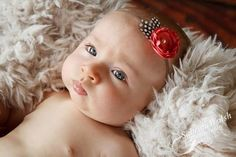 ANISTON headband in Coral with feathers and super skinny elastic - oh so sweet & perfect for newborns ~ handmade by Baby K Designs, $9.95