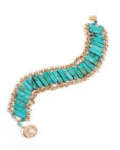 Amanda Sterett gold and turquoise bracelet-$415