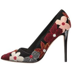 Alice + Olivia Dina (Multi Embroidery/Black Canvas) Women's Shoes ($350) ❤ liked on Polyvore featuring shoes, pumps, slip-on shoes, black slip on shoes, black stilettos, black pointed toe pumps and floral print pumps