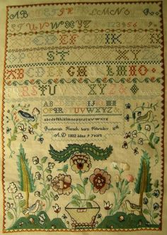 Antique sampler by Rebacah French from 1802