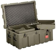 Loadmaster Military Footlocker Case with Casters, Removable Trays, Lockable Hinged Lid, from ECS Case, Olive Drab Storage Trunk, Gun Storage, Storage Boxes, Airsoft, Camping Box, Camping Gear, Weapon Storage, Tac Gear, Gun Cases