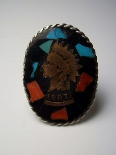 Vintage Sterling Silver Turquoise Coral Indian Head Penny Ring 1907