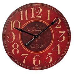 "Round Red 29"" Wide Wall Clock"