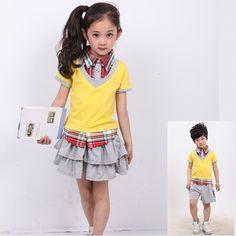 13 child school uniform class service kindergarten park service preppystyle summer short-sleeve skorts costume $24.24