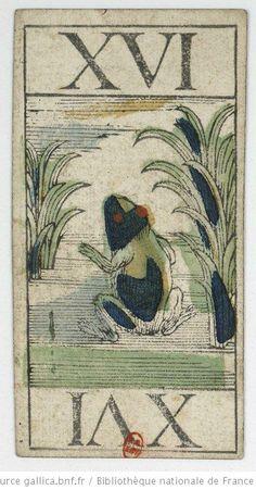 """XVI. [Jeu de tarot animalier belge à couleurs française, dit """"tarot bruxellois""""] : T. Servaes  édition : 1808-1815 : 1 jeu de 78 cartes : gravure sur bois coloriée au pochoir"""