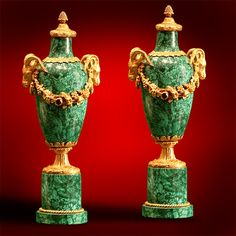 """Pair of Russian Malachite and Dorre bronze Ribboned vases, with Goat Heads flanking. Acorn Finial and Malachite and Bronze base. 19th Century 18""""High."""