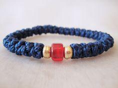 Blue Cotton Prayer Rope Bracelet with a Bead by BYZANTINO on Etsy