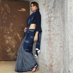 Indian Attire, Indian Wear, Drape Dress Pattern, Indigo Saree, Kurta Patterns, Indian Bridal Lehenga, Silk Cotton Sarees, Saree Blouse Designs, Dress Designs