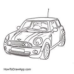 drawing of the mini cooper car