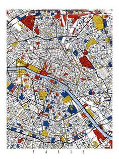 Paris carte Art / Paris France Wall Art / Print par MondrianMapArt