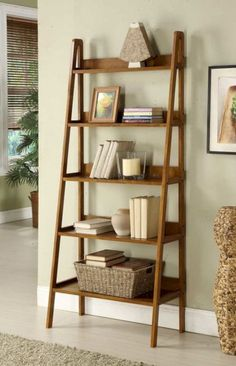 15 Ideas For Diy Wood Ladder Shelf Leaning Bookshelf Leaning Bookshelf, Simple Bookshelf, Bookshelf Design, Diy Shelving, Ikea Bookcase, Bookshelf Ideas, Industrial Design Furniture, Rustic Furniture, Diy Furniture