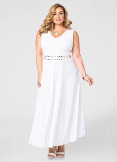 7abcf93a499d9 Pleated Stud Waist Maxi Dress