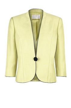 Lime One-Button Jacket with navy piping, bring vibrance to your occasionwear with a statement jacket.