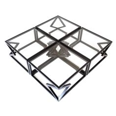 """Contemporary Steel """"Quad Diamonds"""" Cocktail Table by Alex Drew and No One 2015 Walnut Coffee Table, Coffee Cocktails, Beveled Glass, Cocktail Tables, Wood Design, Custom Furniture, Bronze, Contemporary, Modern"""