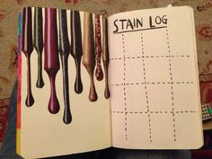 Wreck this journal. Favourite page so far in my wtj made by cutting out nail varnish drip samples from magazines :)
