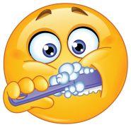 brushing teeth smiley sticker