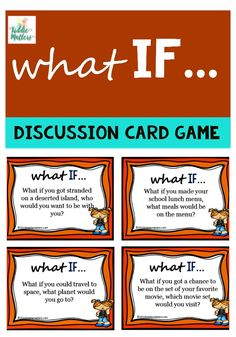Sometimes it's difficult for children to talk to other people, whether it be adults or other kids. These What IF discussion cards are a great way for children to practice and improve their conversation skills.