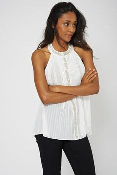 PLEATED EMBELLISHED HIGH NECK TOP