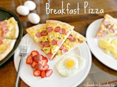 Breakfast Pizza:  I use frozen pizza dough, then spread 2 beaten eggs on the dough, top with cheddar, smoked sausage, and green onion.  Perfect for Mother's Day. #redheadskitchen #mothersdayrecipe #breakfastpizza