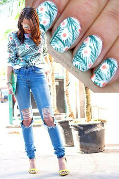 This tropical #nailart #DIY was inspired by a sweatshirt! @Melissa Squires Henson Ladyfinger